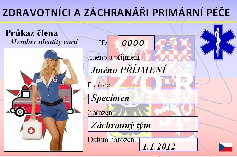 Průkaz člena ZZPP - přední strana